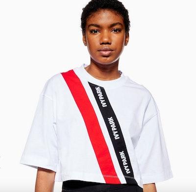 Asymmetric Tape Logo Crop T-Shirt by Ivy Park