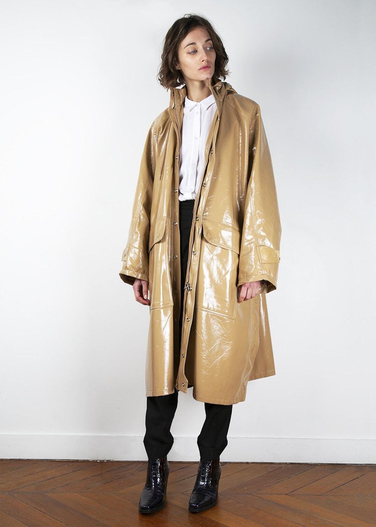 Beige Patent Hooded Jacket