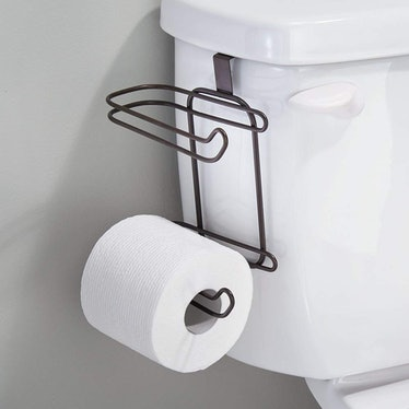 mDesign Compact Hanging Over The Tank Toilet Tissue Paper Roll Holder