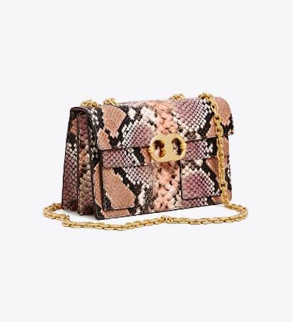 Gemini Link Embossed Small Shoulder Bag in Shell Pink