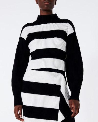 Stripy Merino Wool Sweater Cropped Pullover