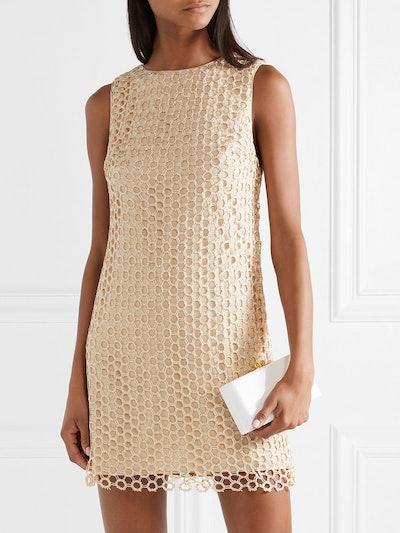 Clyde Sequined Crochet-Knit Mini Dress
