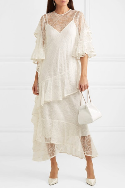 Salon Ruffled Lace Gown