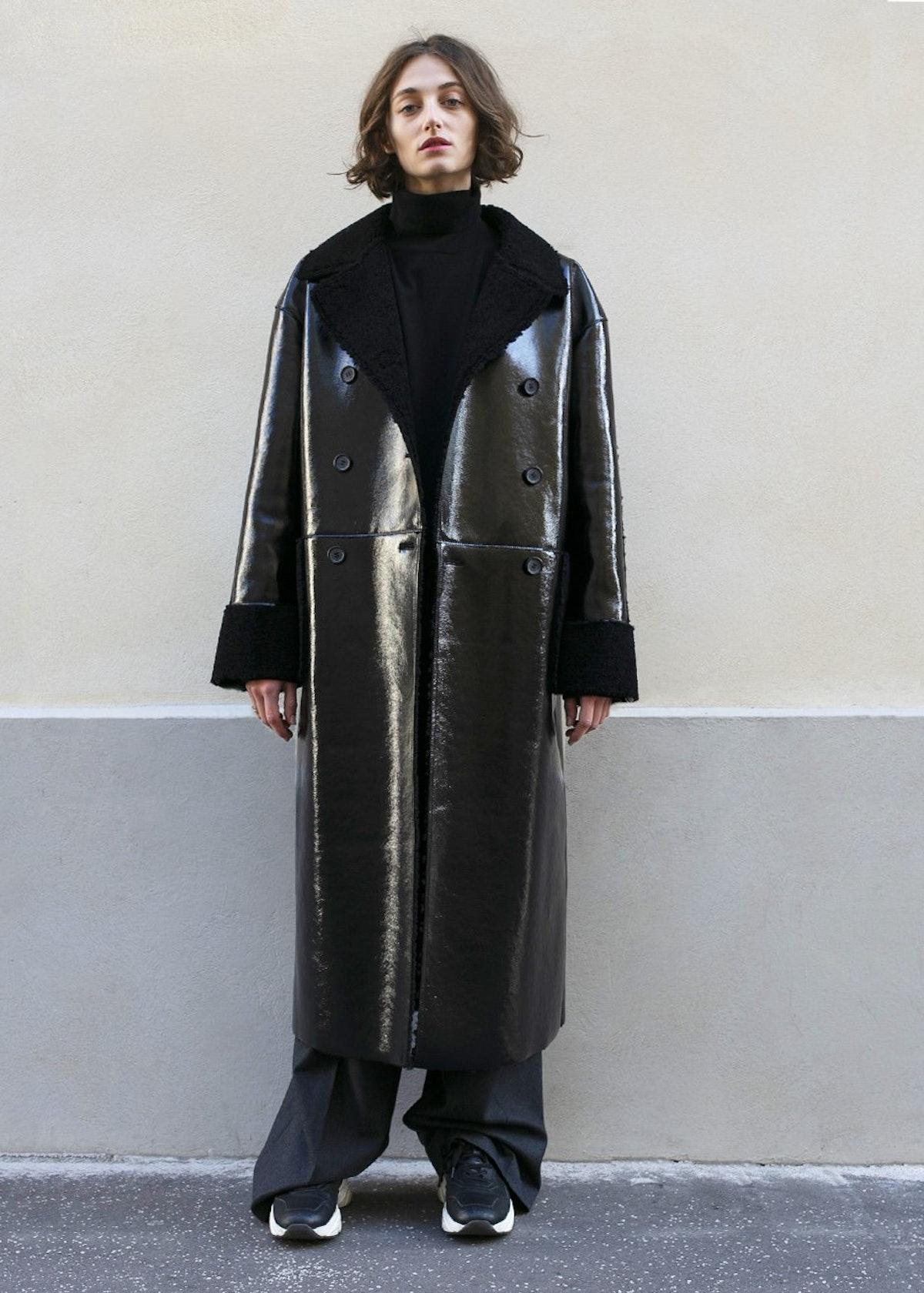 Black Patent Shearling Coat