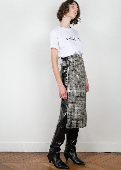 Black Patent & Tweed Pencil Skirt