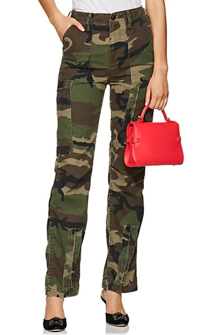 Camouflage High-Waist Cargo Pants