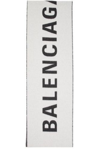White & Black Archetype Jacquard Logo Scarf