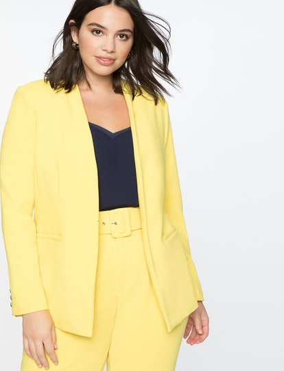 Kiss Front Blazer With Button in Lemon