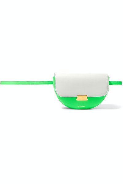 Anna Two-Tone Neon Leather Belt Bag