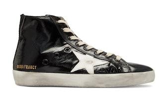 Black Shiny Francy High-Top Sneakers