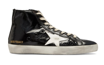 Black Shiny Francy High-Top Sneakers
