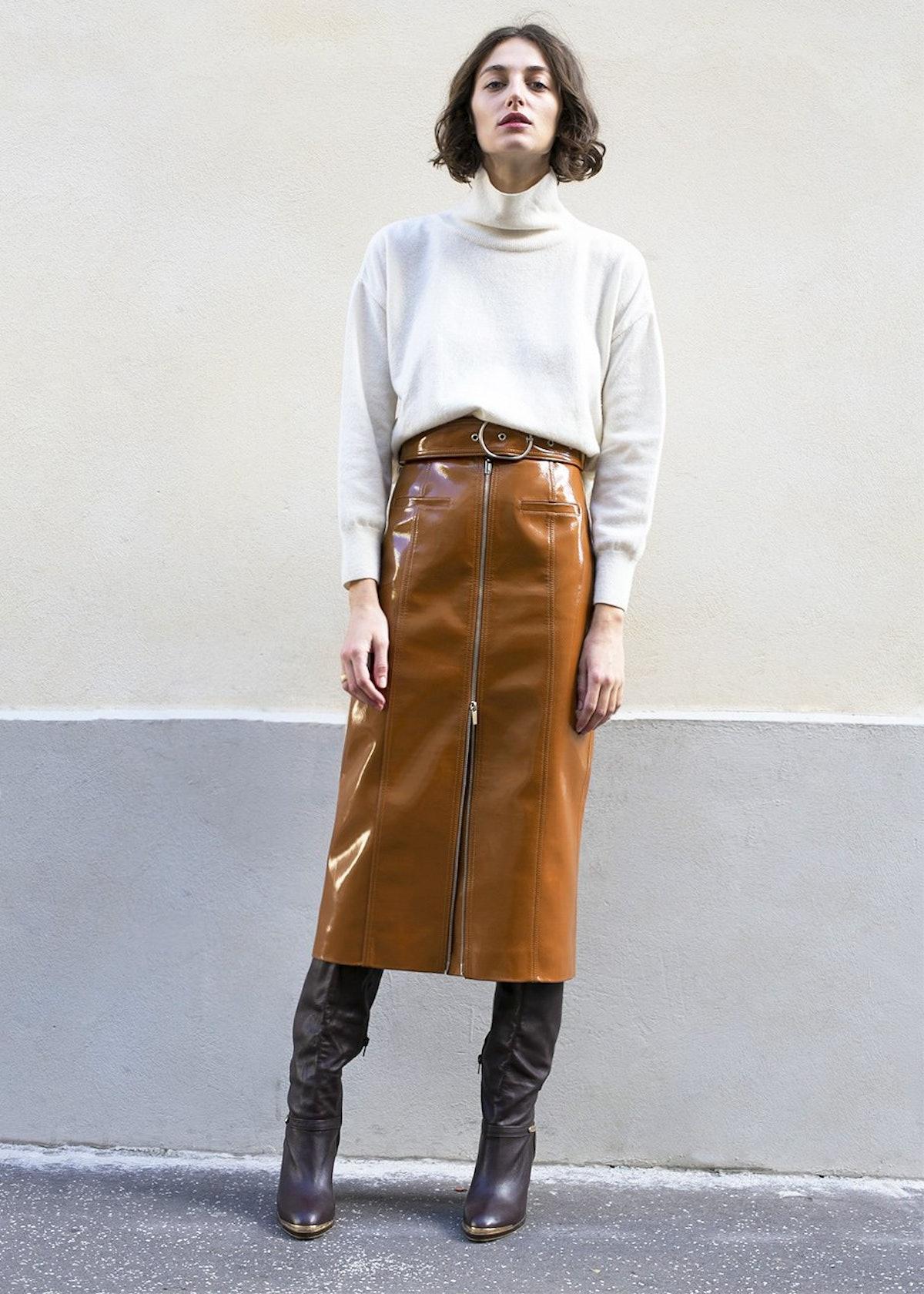 Caramel Patent Pencil Skirt