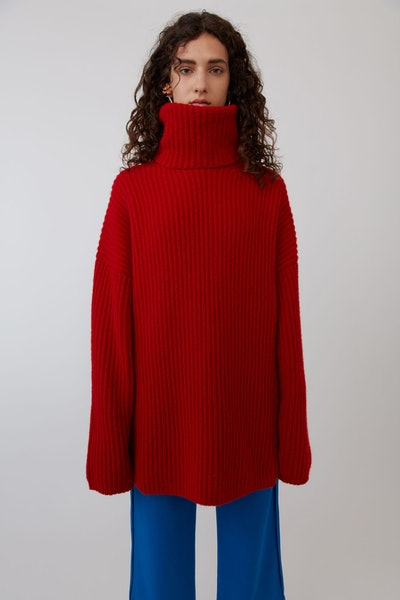 Ribbed Turtleneck Sweater Red