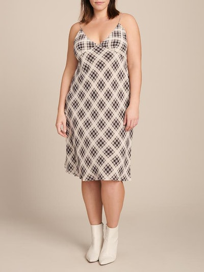 Bias Plaid Knee Length Dress