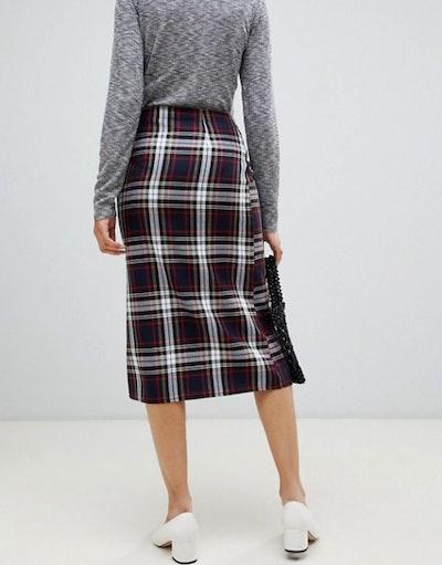 Nobody's Child midi skirt in tartan with zip detail