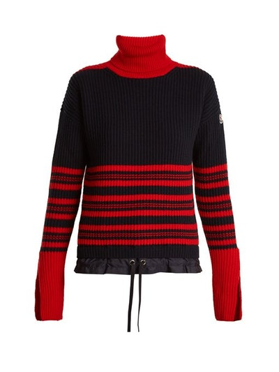Moncler Roll Neck Striped Ribbed-Knit Wool-Blend Sweater