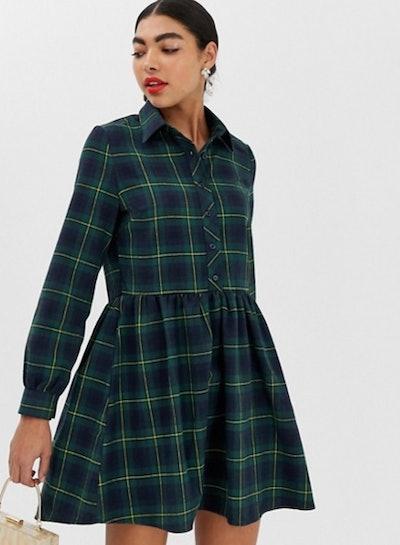 Unique21 check smock dress