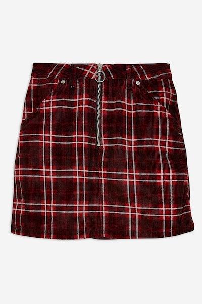 Topshop Check Corduroy Skirt