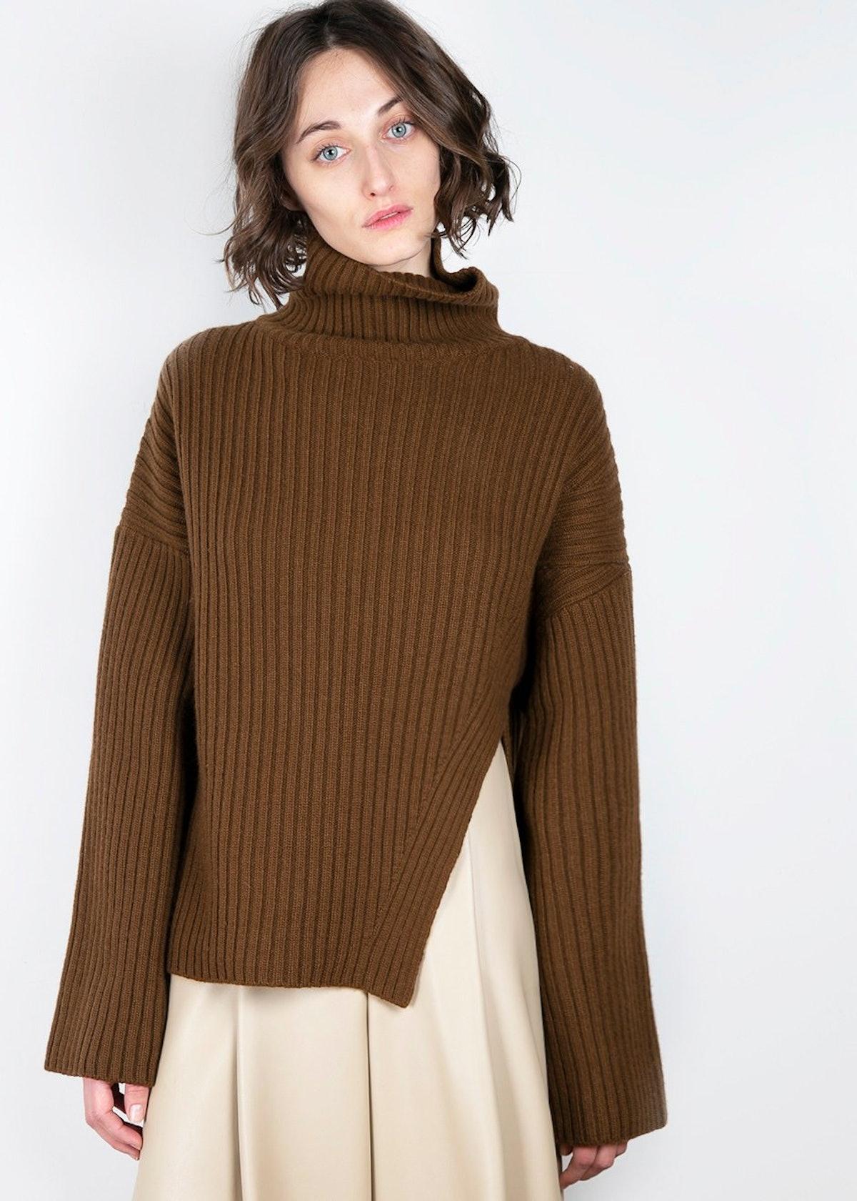Asymmetric Brown Ribbed Turtleneck Sweater
