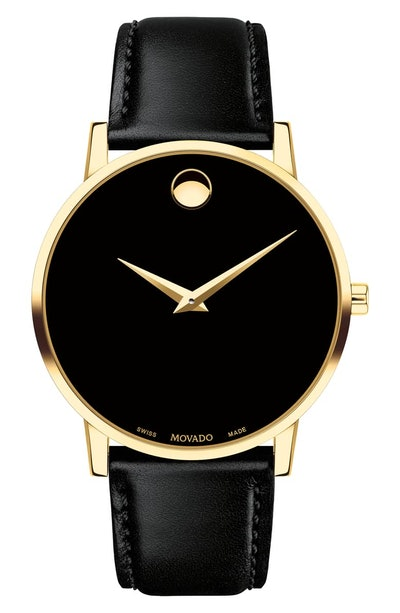 Movado Leather Strap Watch, 40mm
