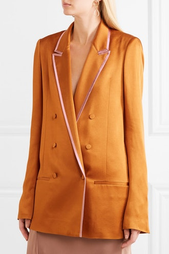 Double-Breasted Two-Tone Satin Blazer