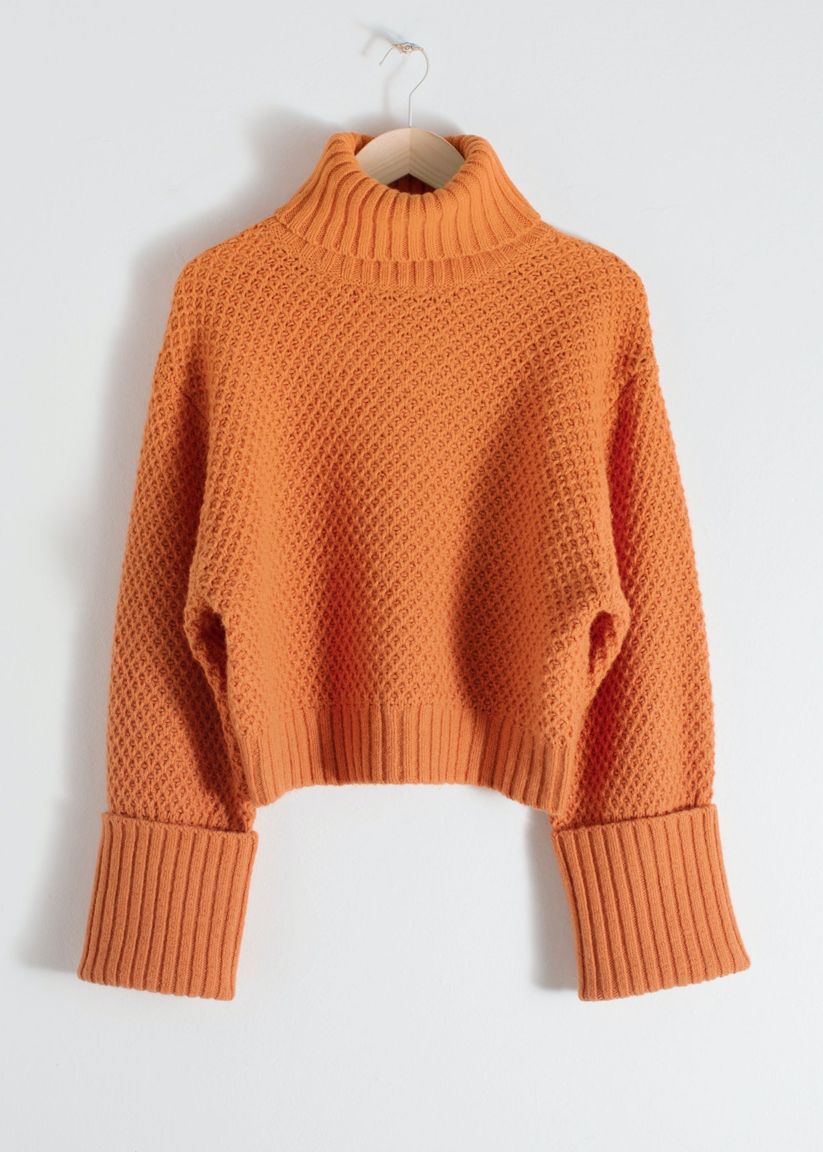 Cropped Wool Blend Turtleneck