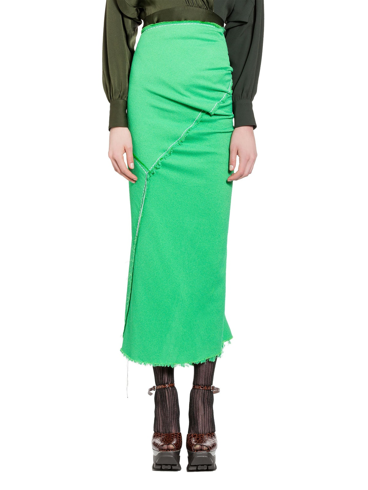 Skirt in Double Viscose Sable With Hanging Threads