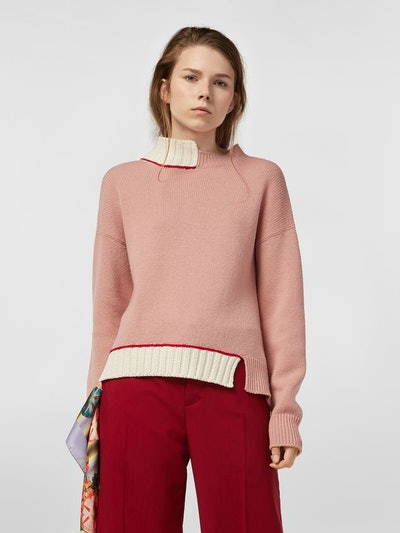 Knit In Virgin Wool And Cotton With Contrast Edges