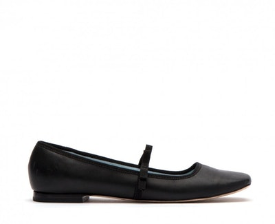 Jude Mary Jane Leather Flats In Black