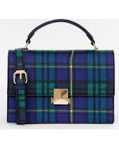 Miss Selfridge structured across body bag in blue tartan check
