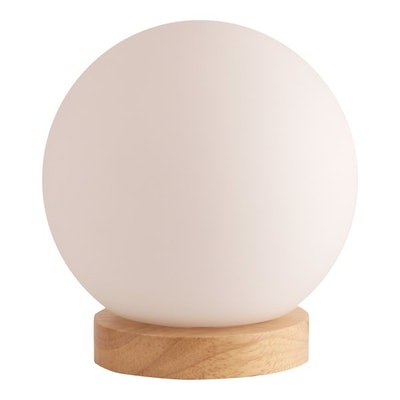 Light Accents Table Lamp Natural Wooden Base With Round Glass Shade