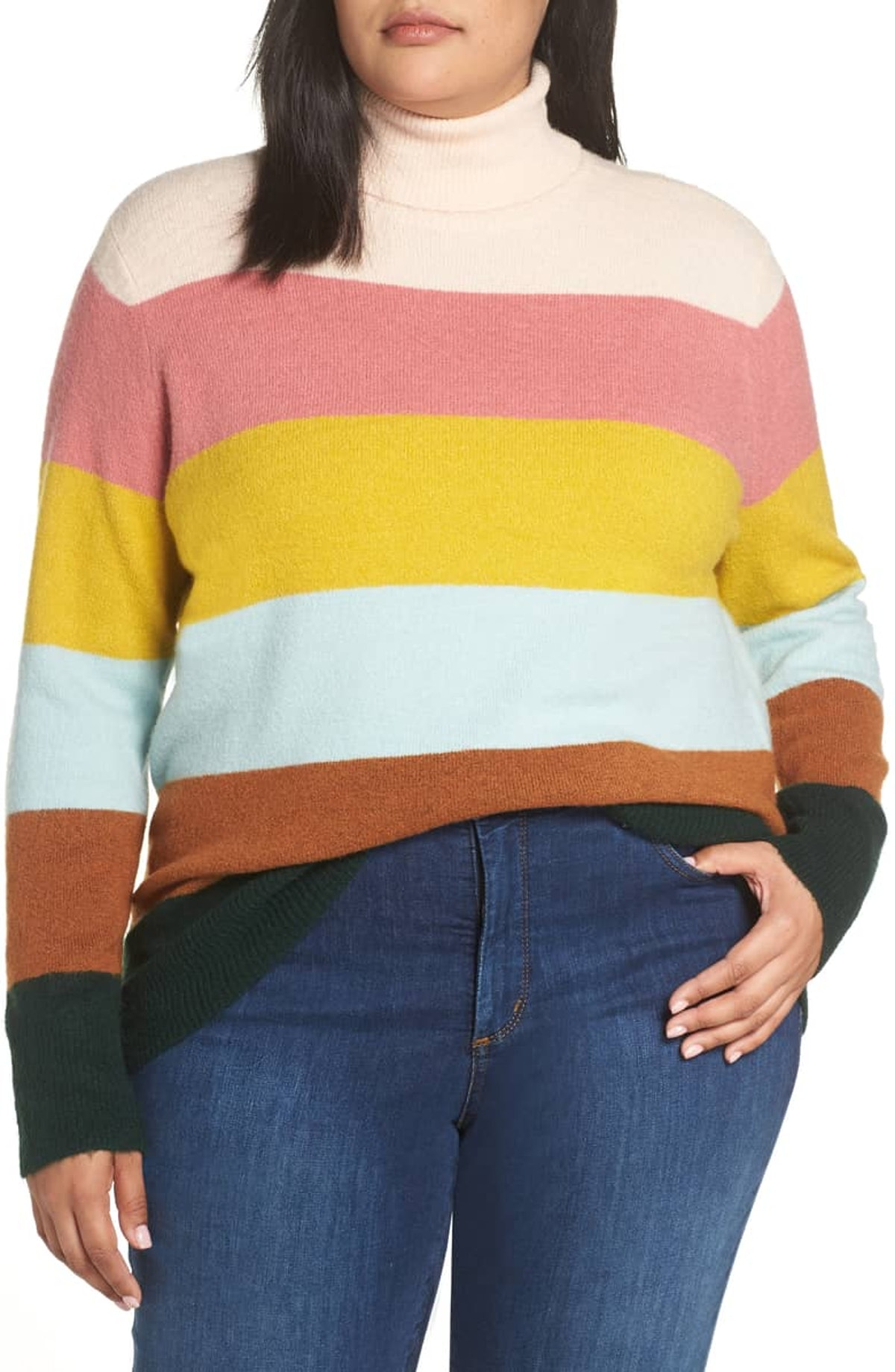 Halogen x Atlantic-Pacific Stripe Turtleneck Sweater - Plus Size