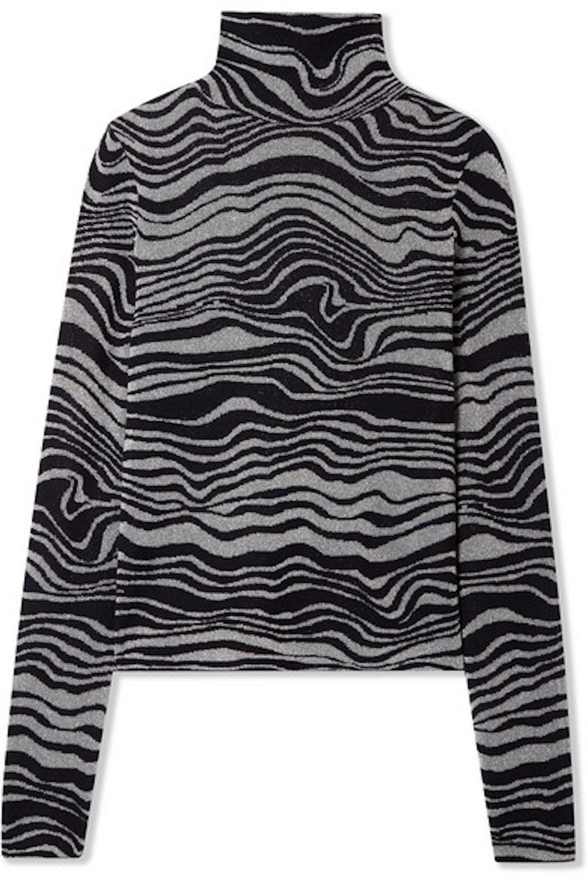 Sies Marjan Roos Cashmere-Blend Jacquard And Lurex Turtleneck Sweater