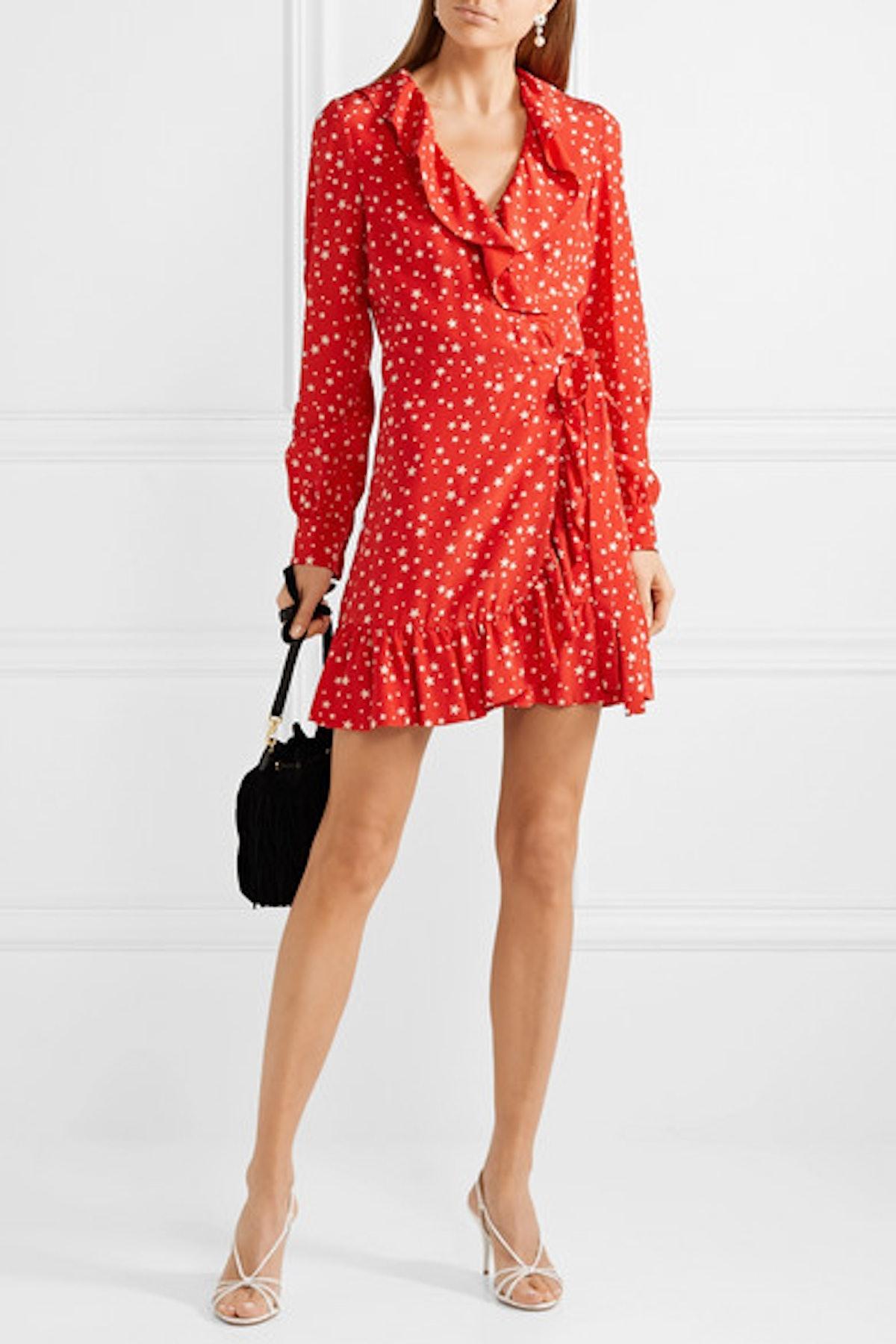 Ruffled Printed Silk-Crepe Wrap Mini Dress