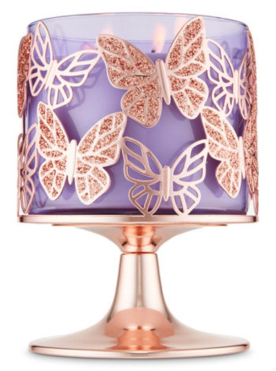 Rose Gold Glitter Butterflies 3-Wick Candle Holder