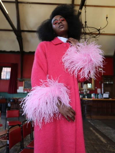 Pink Feather Trimmed Coat