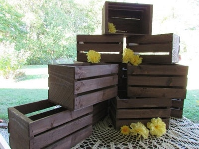 10in, 18in rustic wooden crates