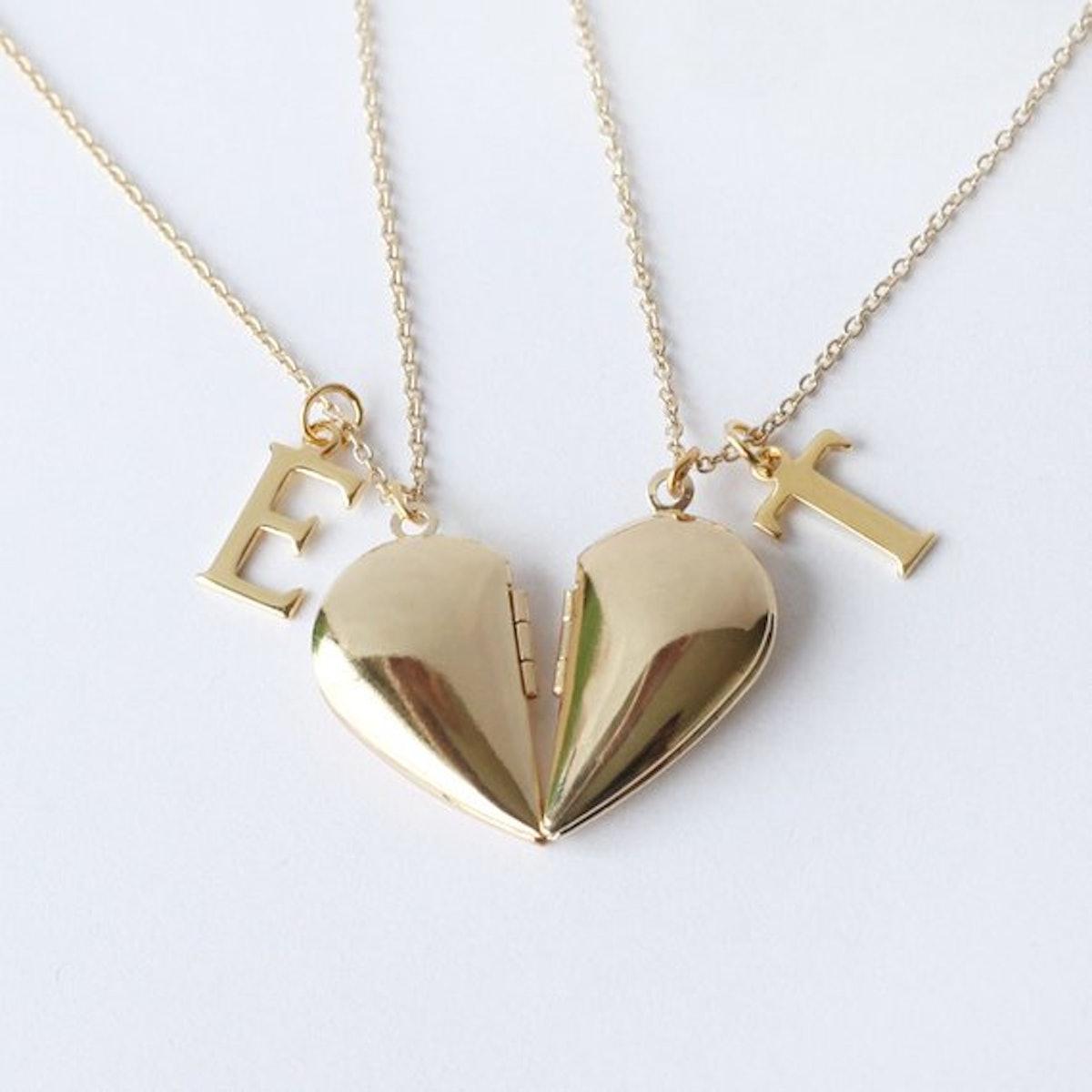 Gold Half Heart Locket Necklaces