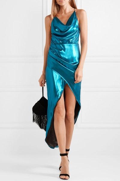 Holly Open-Back Metallic Satin Midi Dress