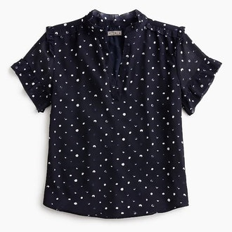 Point Sur Short-Sleeve Ruffle Top in Painted Dot