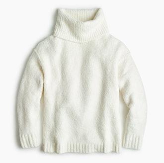 Bouclé Oversized Turtleneck Pullover