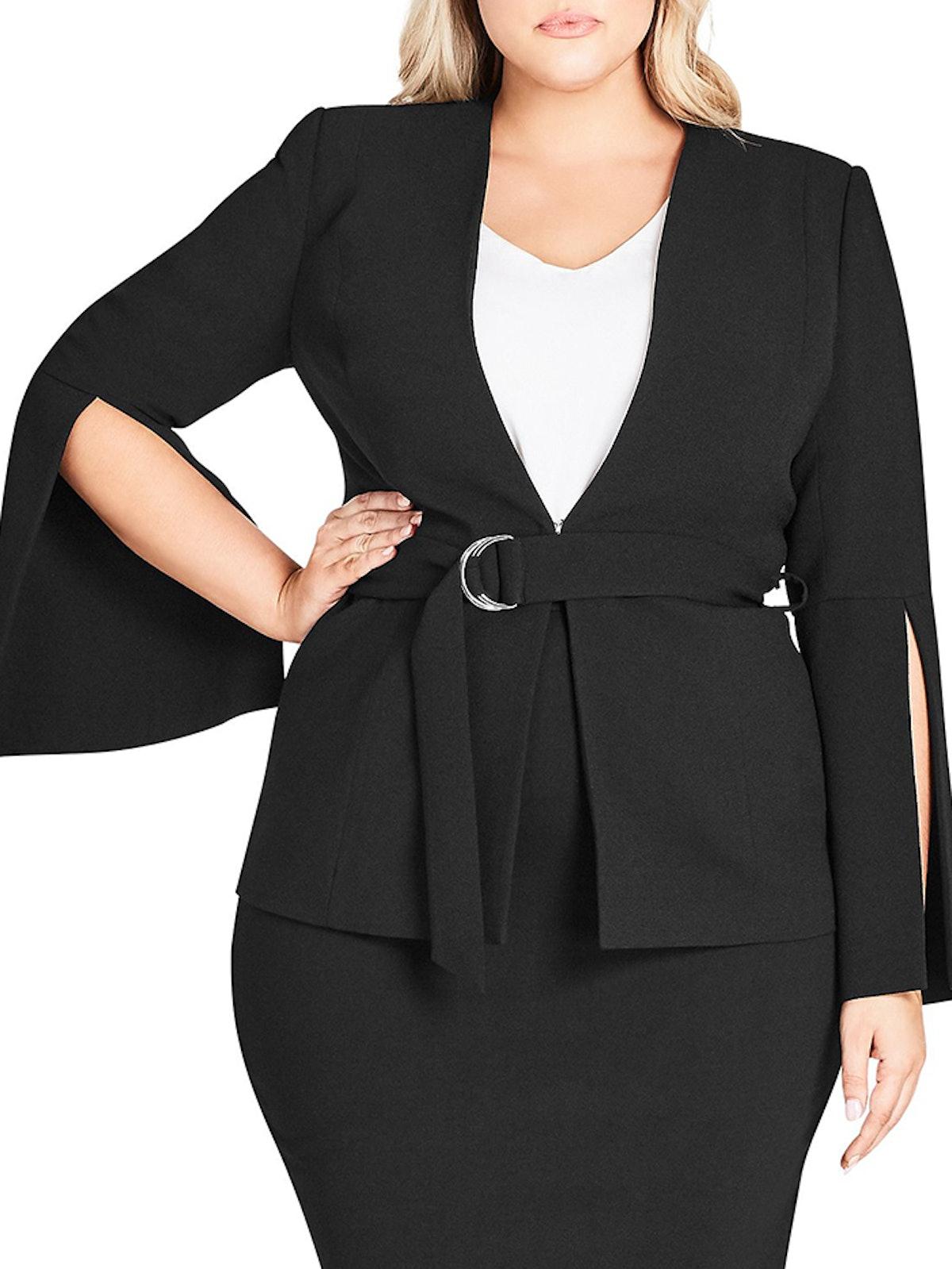 Split-Sleeve Belted Jacket