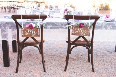 Rustic Wedding Decor- Mr and Mrs Chair Signs