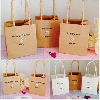 Personalised Rustic Wedding Mini & Small Paper Gift Bags