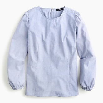 Puff-Sleeve in End-on-End Cotton