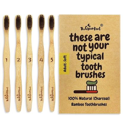 The Green Root Charcoal Bamboo Toothbrushes (5 Pack)