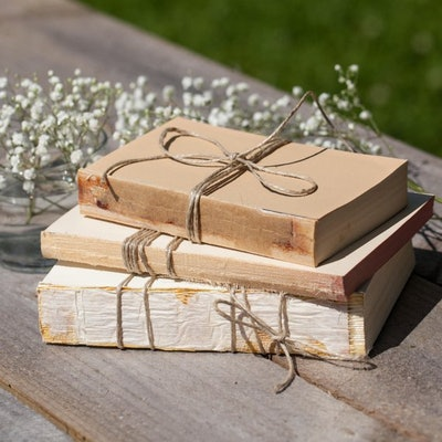 Set of 3 Unbound Books for Shabby Chic Wedding Decor