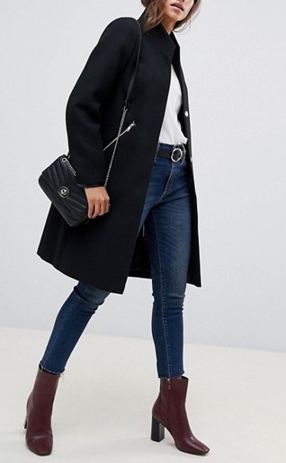 Smart Funnel Neck Coat With Contrast Trim