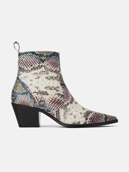 Animal Print Cowboy Print Heeled Ankle Boots