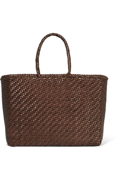Basket Woven Leather Tote